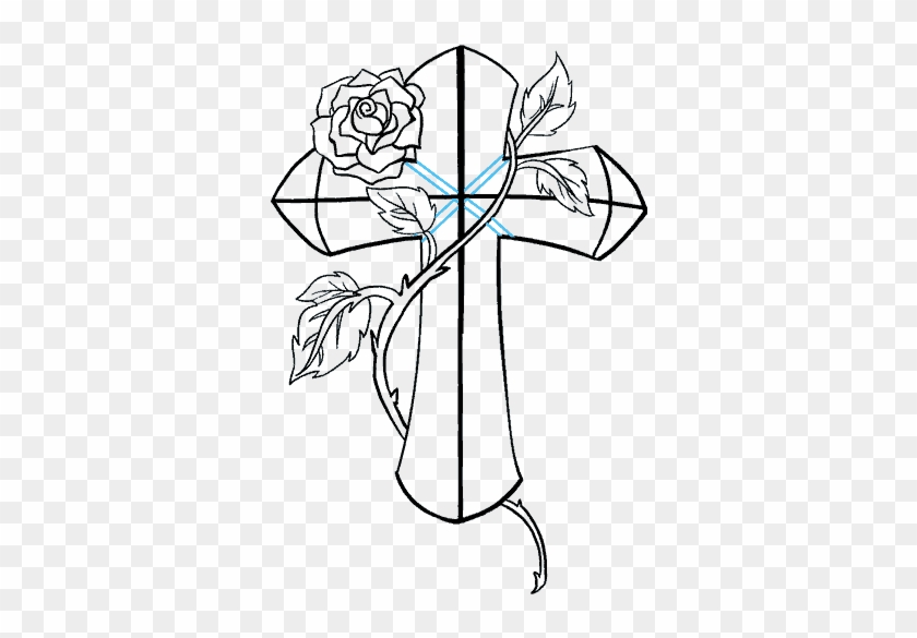 How To Draw A Cross With A Rose In A Few Easy Steps - Cross With Roses Line Drawing Clipart #1534895
