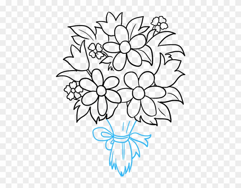 How To Draw A Really Easy Tutorial - Draw A Bouquet Of Flowers Easy Step Clipart #1534965