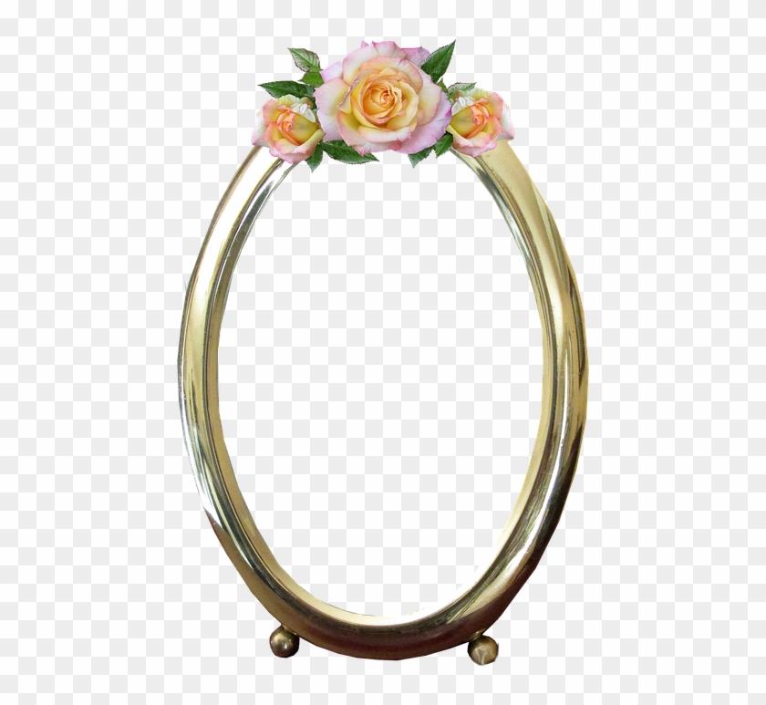 Frame, Oval, Gold, Rose, Decoration - Transparent Background Oval Frame Flower Clipart #1539492