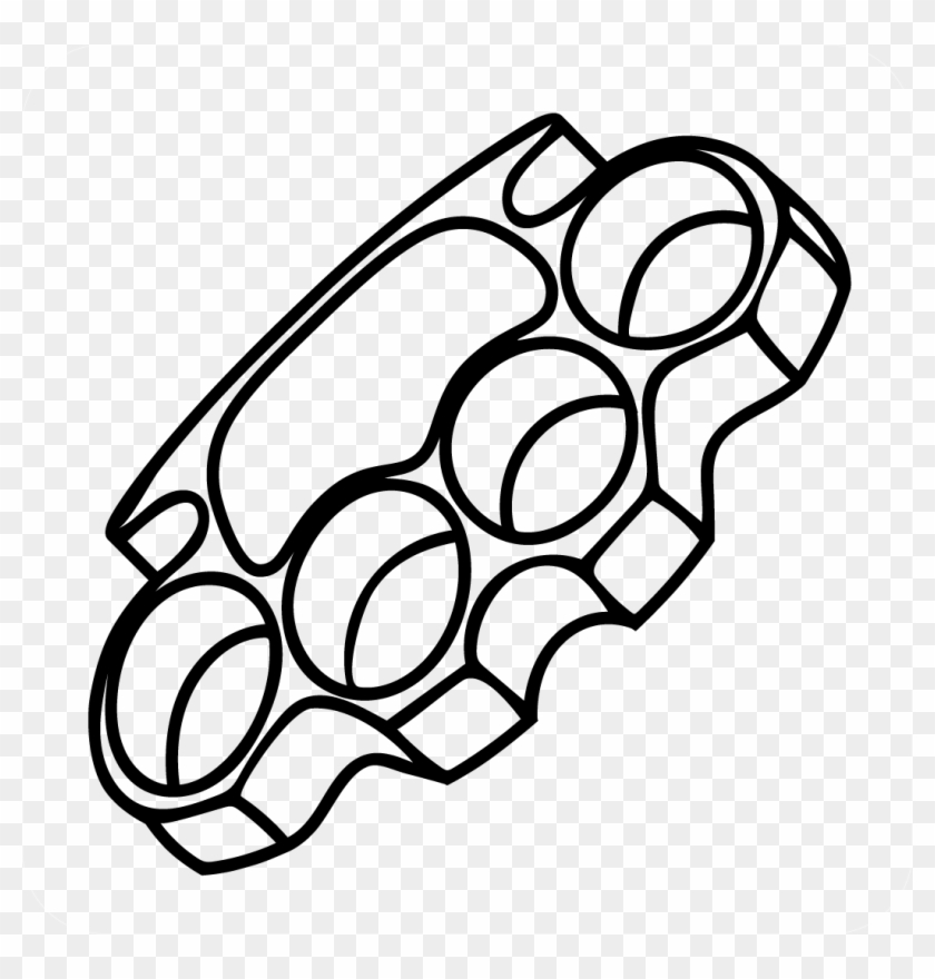 Brass Knuckles Decal - Brass Knuckle Drawings Clipart #1542961