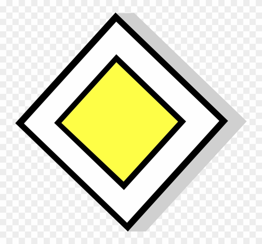 Vector Illustration Of European Union Eu Traffic Highway - European Priority Road Sign Clipart #1562829