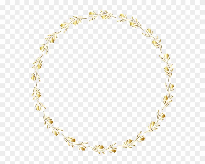 Gold Round Floral Border Transparent Clip Art Image - Floral Border Transparent Background - Png Download #1633649