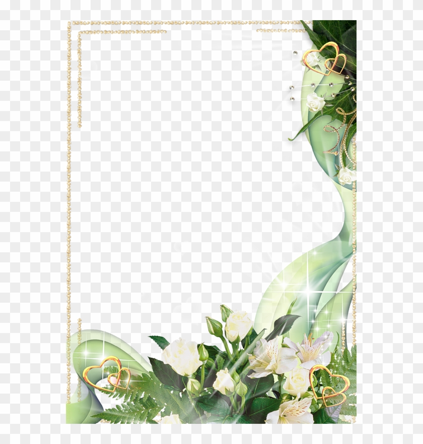 Beautiful Transparent Photo Frame With White Flowers - White Flower Frame Png Clipart #1633675