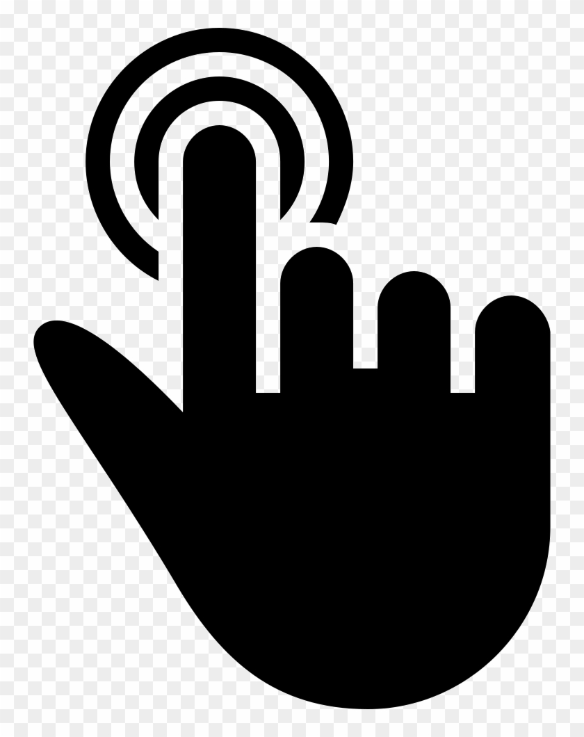 Touch Of One Finger Of Solid Black Hand Symbol Comments - Touch Hand Icon Png Clipart #1677859