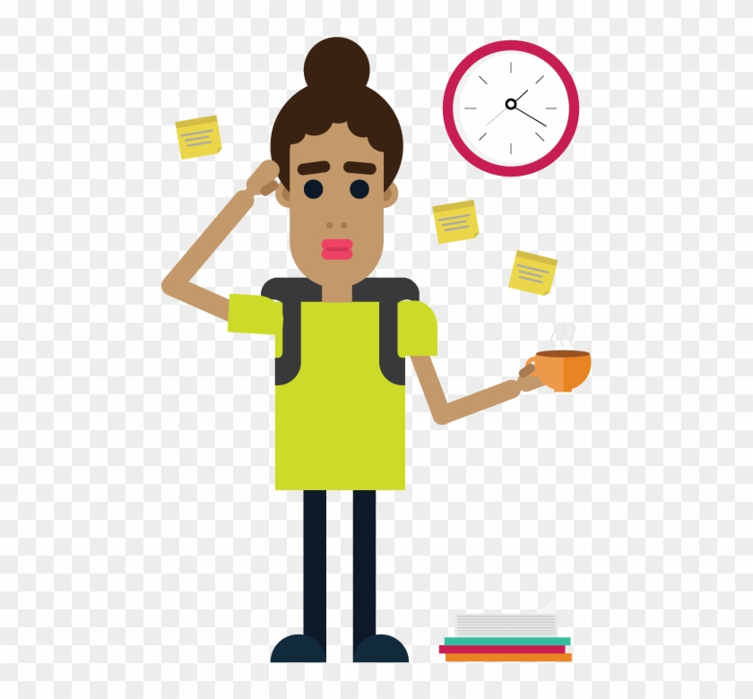 Stressed Student With To Do Lists And Coffee - Stressed Student Png Clipart Transparent Png #1680415