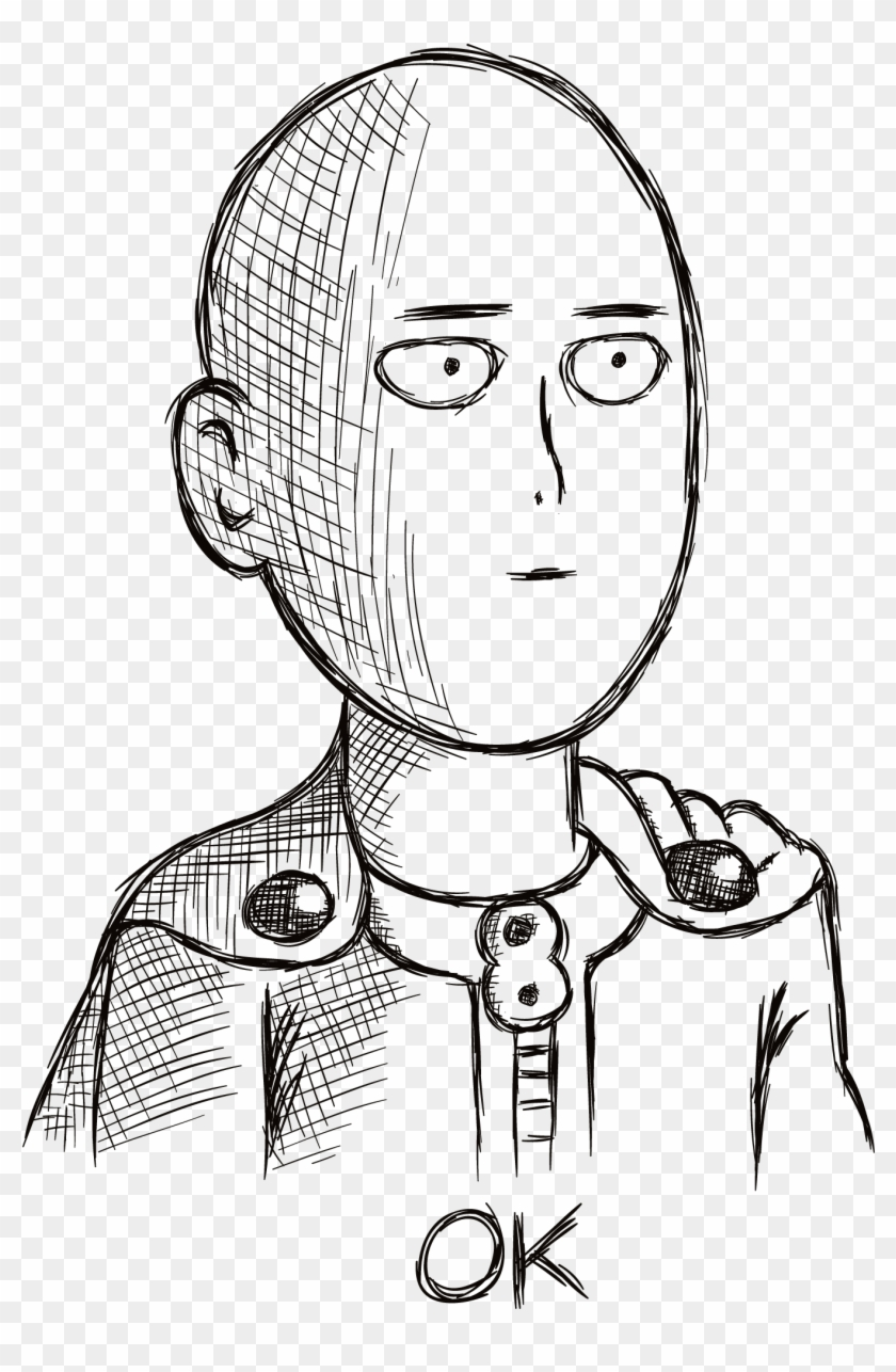Saitama Ok Face Png Anime Stickers Whatsapp Clipart 174221 Pikpng