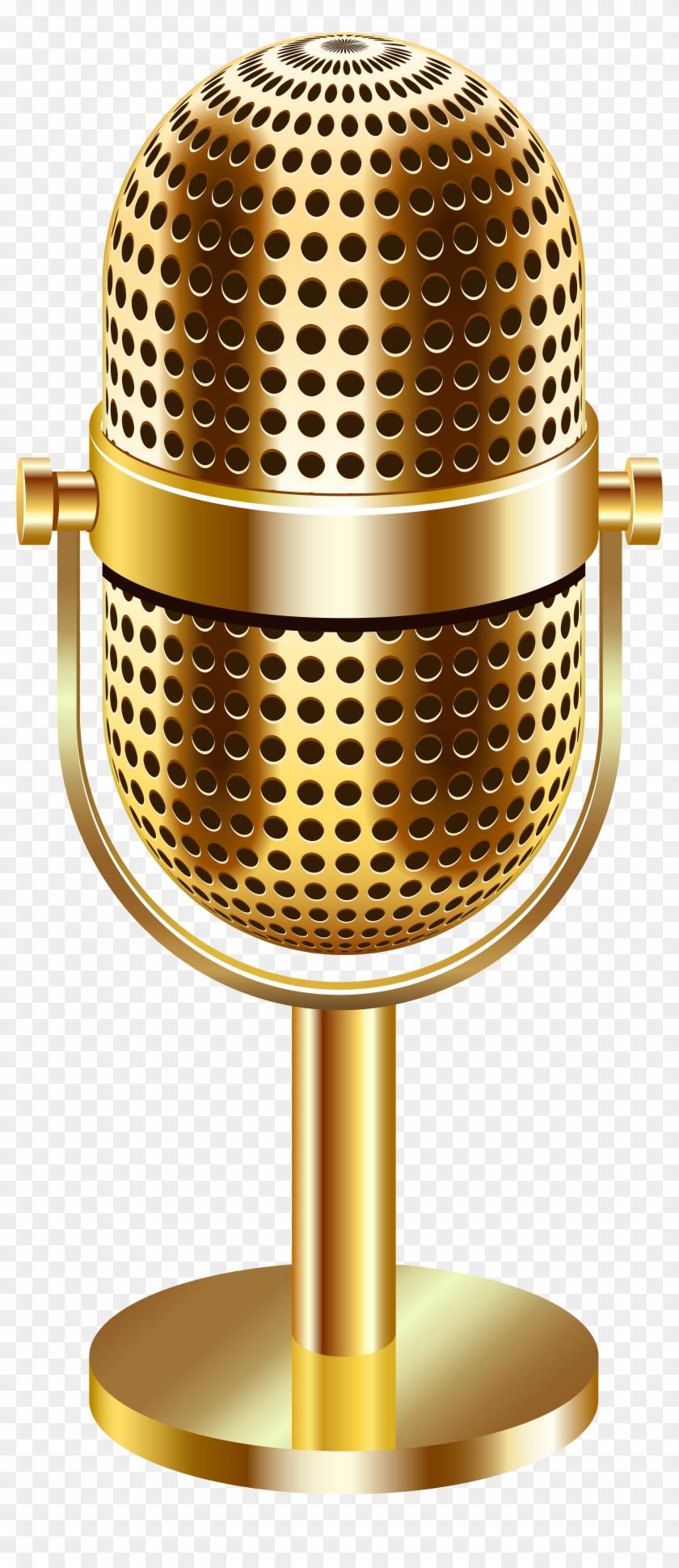 Vintage Microphone Gold Transparent Clip Art Image - Transparent Background Gold Microphone Png #1709189