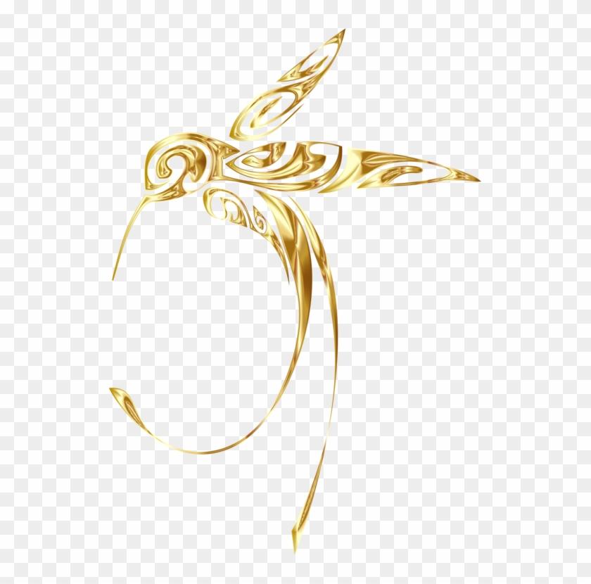 Body Jewellery Gold Hummingbird Line Art Clipart #1719343