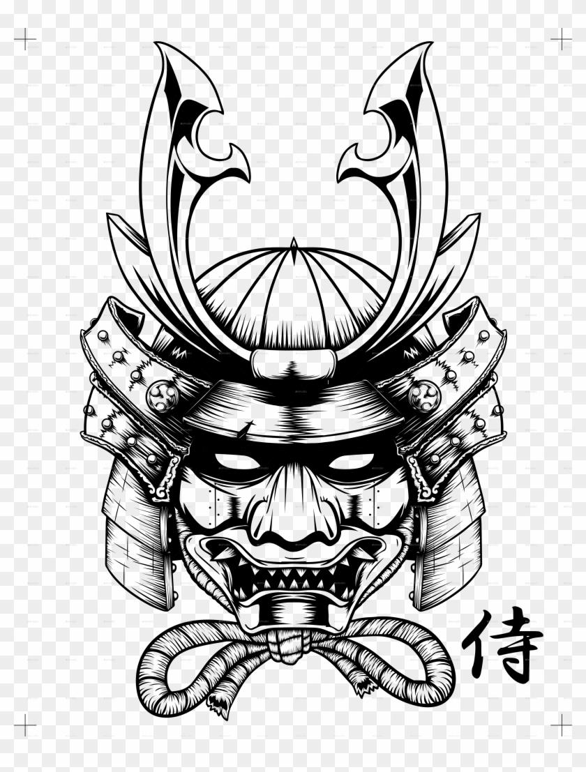 Drawn Masks Japanese Samurai - Japanese Symbol For Samurai Clipart #1719512