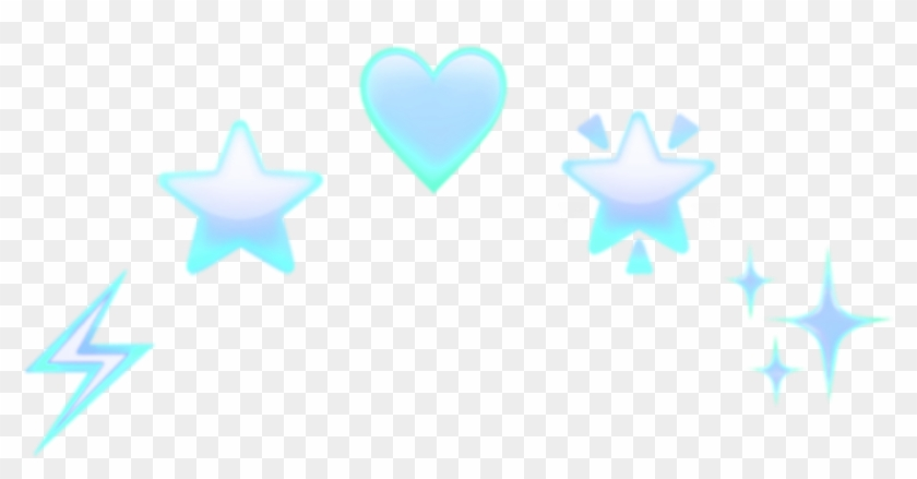 Emoji Heart Star Blue Design Decoration Thunder Head - Heart Clipart #1746547
