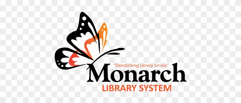 Monarch Library System Logo White Wings - Graphic Design Clipart #1751113