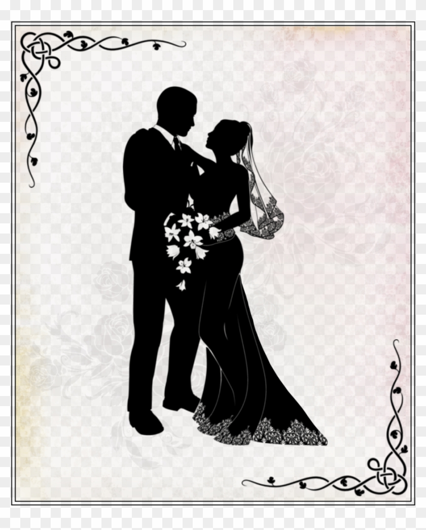 Wedding Silhouette Couple Clipart Wedding Invitation - Wedding Couple Vector Png, Transparent Png #1769493