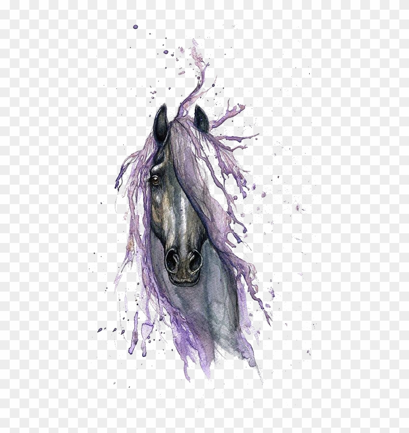 watercolor tattoo horse painting drawing hq image free - watercolor horse  head tattoo clipart (#1780245) - pikpng  pikpng