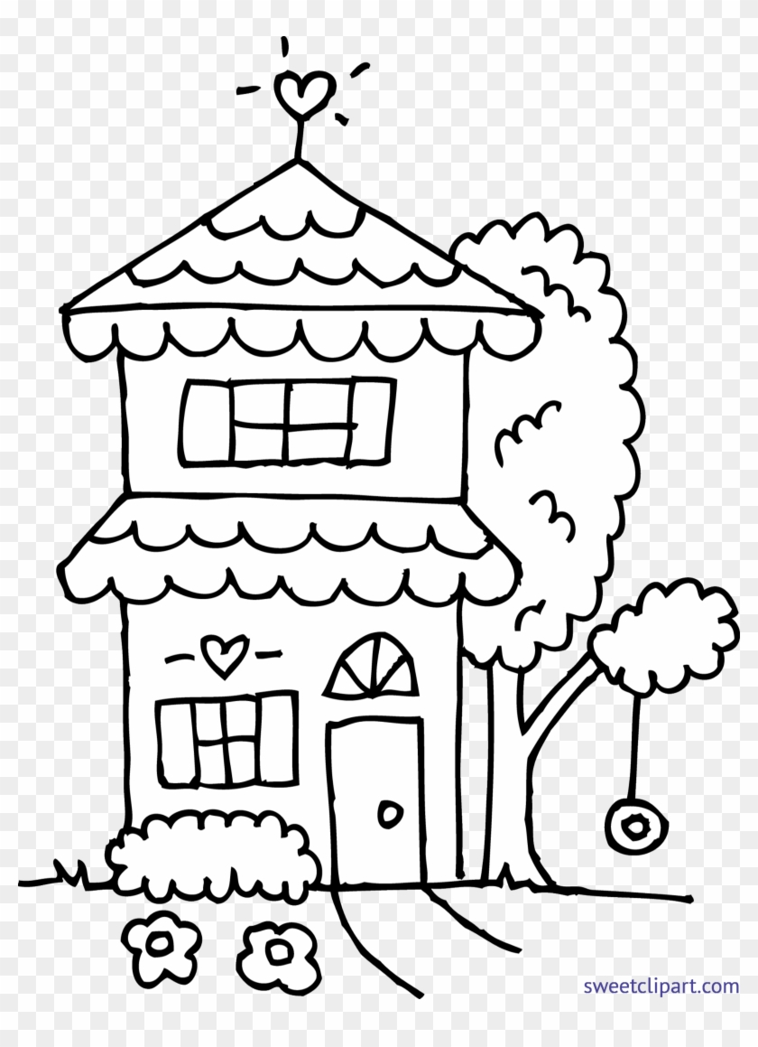 White House Clipart Cute House - Cute House Coloring Page - Png Download #1785178