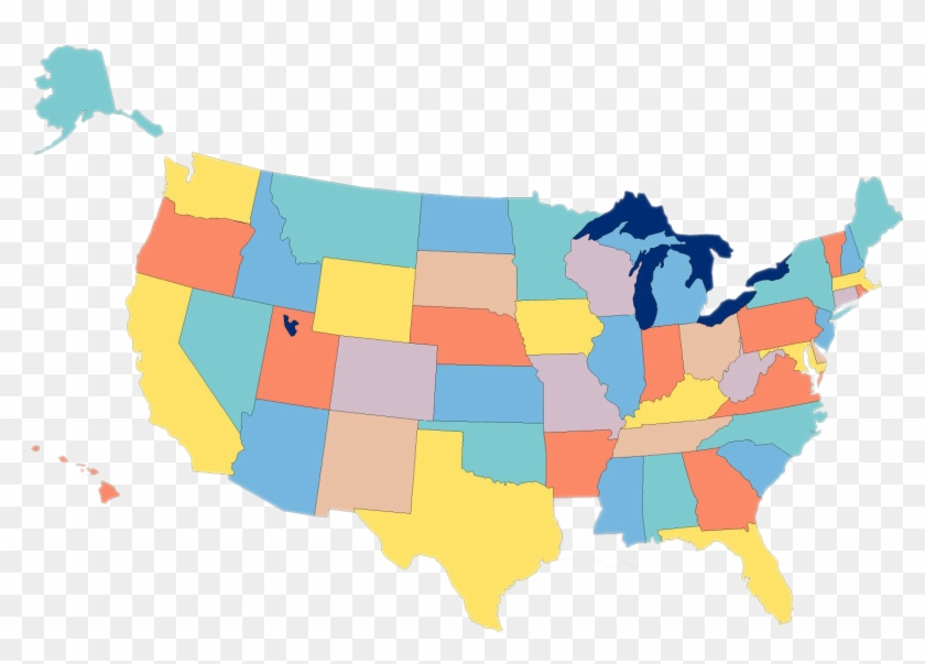 Usa Map - Map Of The United States Empty Clipart #1793276