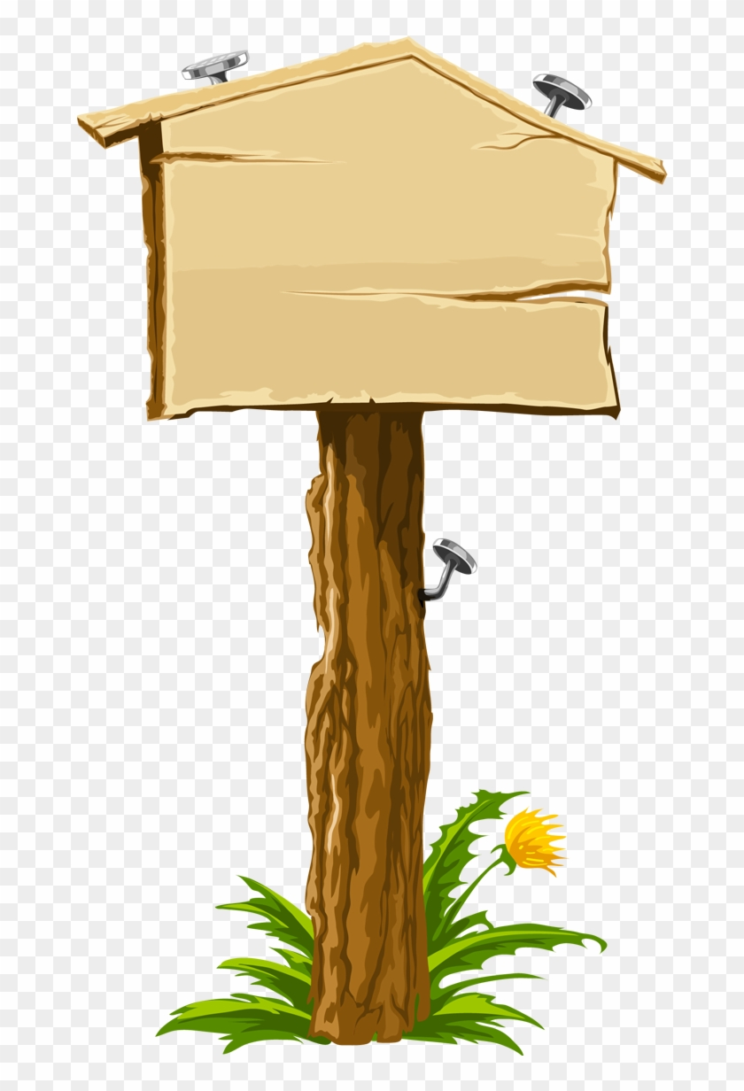 Wooden Signpost With Grass And Stones - Blank Sign Clipart #180805