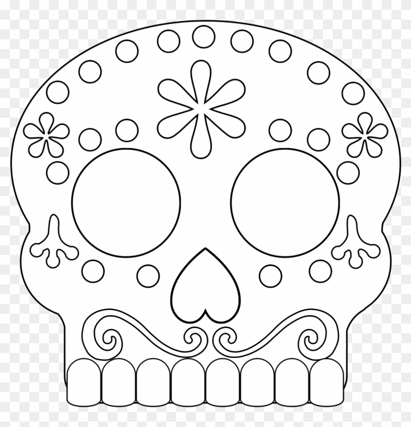 Black And White Day Of The Dead Sugar Skull Masks - Coco Sugar Skull  Coloring Pages Clipart (#184531) - PikPng