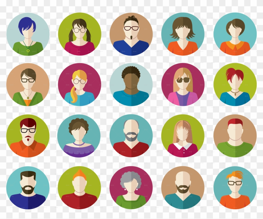 Set Of People Flat Icons By Vectorgirl - People Flat Icons Png Clipart