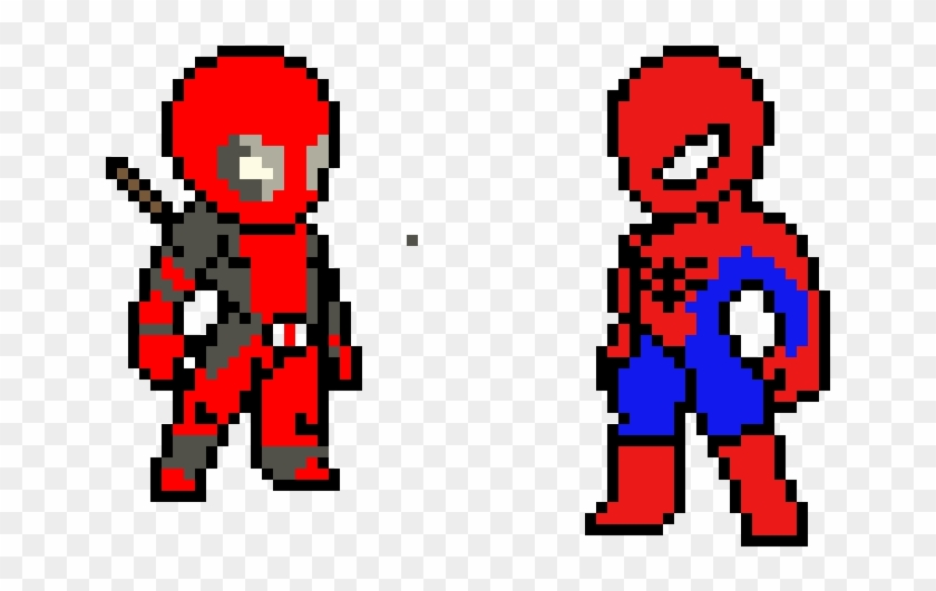 Deadpool And Spiderman - Deadpool Pixel Art Png Clipart #1831152