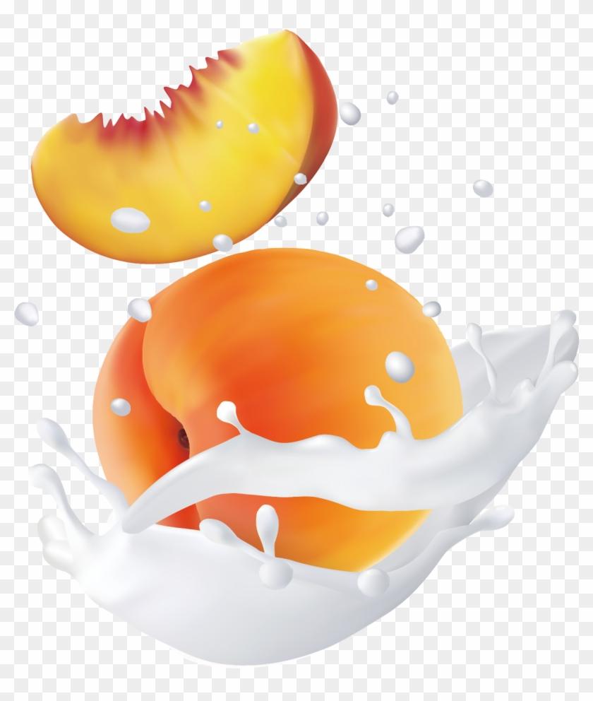 Fruit Water Splash Clipart Egg - Peach - Png Download #1835021