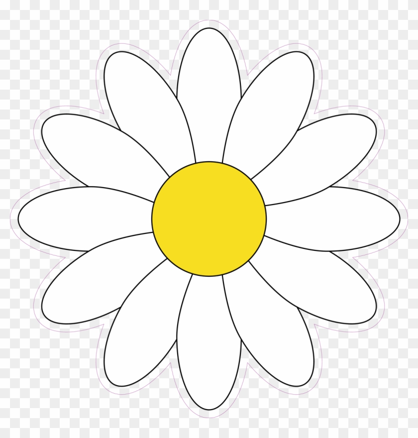 Simple White Daisy Flower Vector Illustration Sticker ...