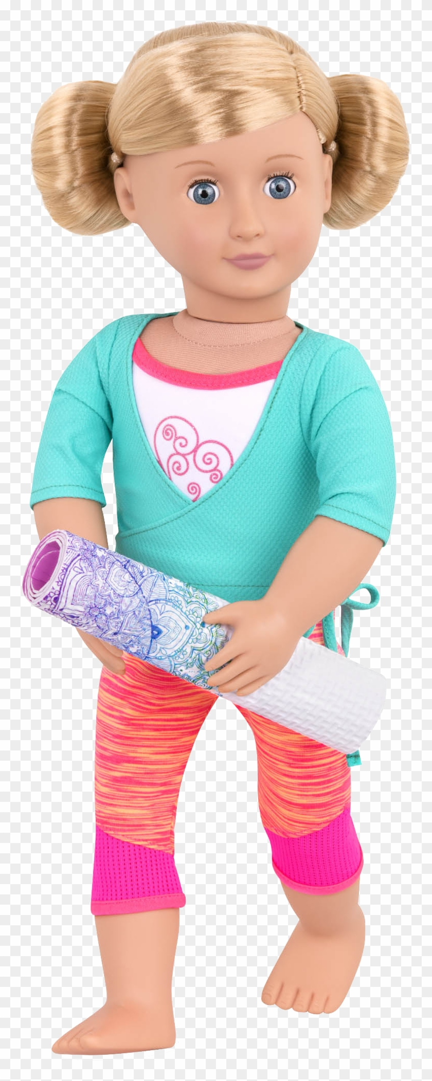 Happy Sun Salute Yoga Outfit Katelyn Holding Mat - Our Generation Clipart #1860124