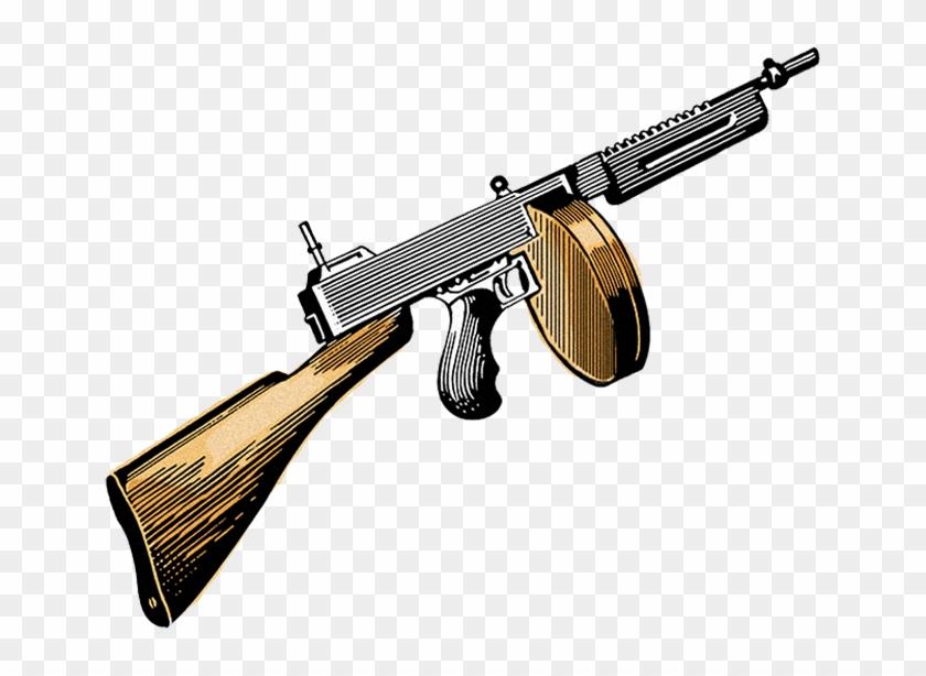 Machine Gun Clipart Gangster - Tommy Gun Clip Art - Png Download #1866966