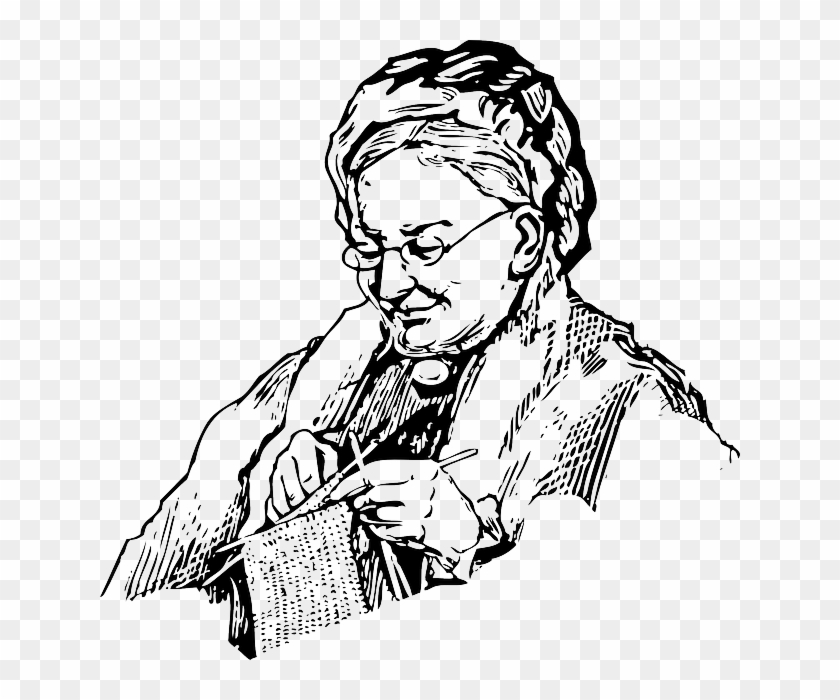 Woman, Knitting, Grandma, Old, Lady, Knit, Needles - Grandmother Black And White Clipart #1869646
