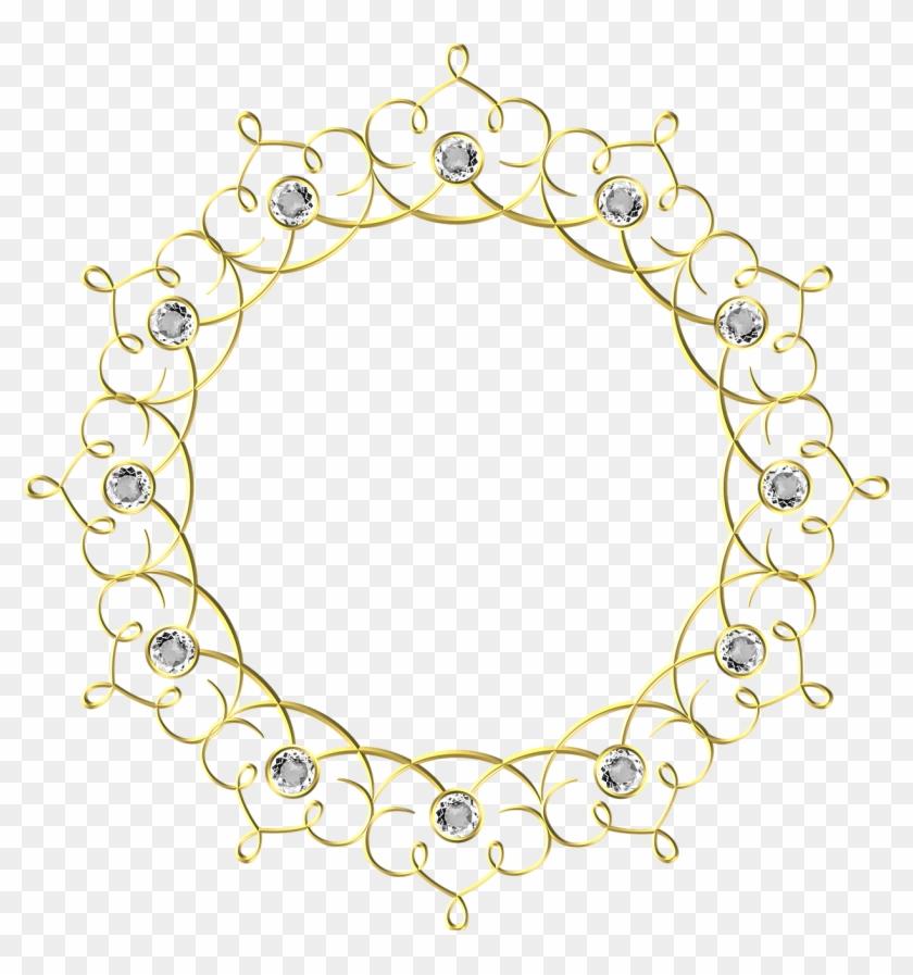 Wedding, Gold, Frame, Round, Border, Decoration - Wedding Gold Frame Png Clipart #1899675