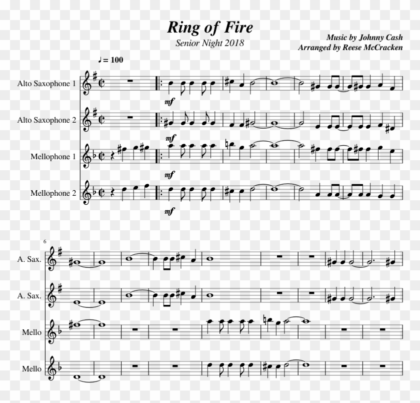 Ring Of Fire - Sheet Music Clipart #1923758