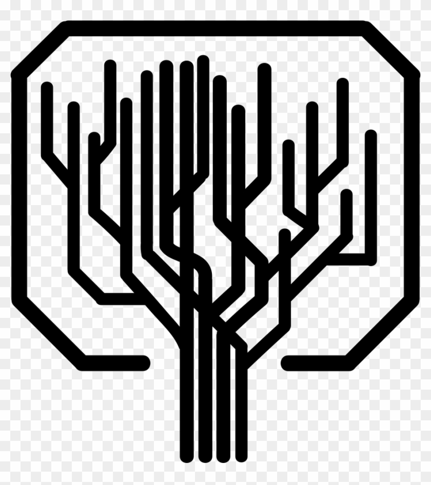 Tree Shape Of Straight Lines Like A Computer Printed - Computer Tree Icon Clipart #1954893