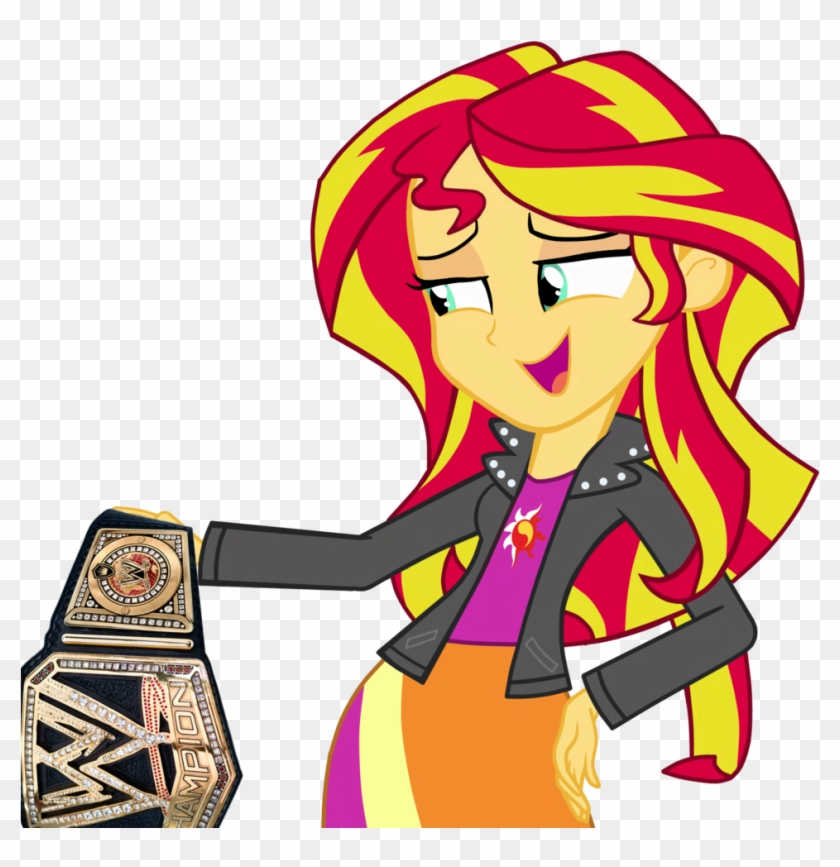 Championship Belt, Edit, Equestria Girls, Safe, Simple - Mlp Eg Sunset Shimmer And Flash Sentry Clipart #1970476