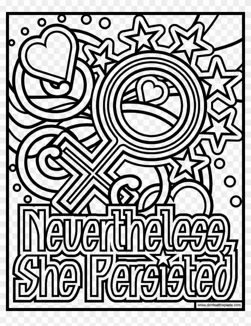 Free Coloring Pages, Coloring Pages For Kids, Coloring - Nevertheless She Persisted Coloring Page Clipart #1980635