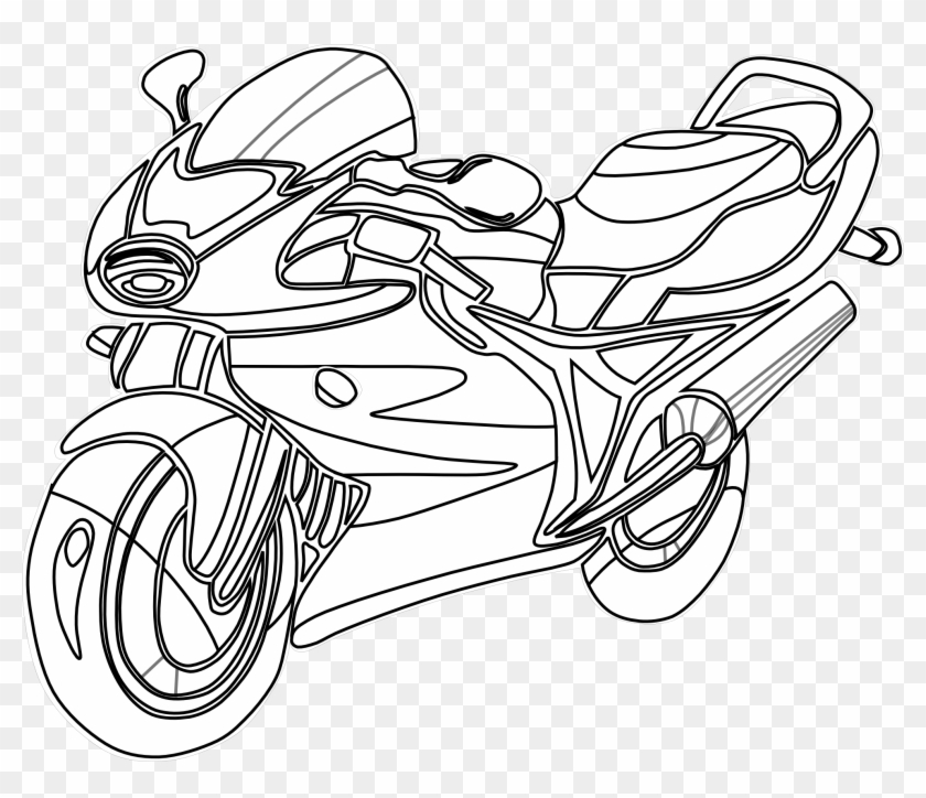 Motorcycle With A Modern Design Motorcycles Coloring - Motorcycle Clipart Black And White - Png Download #1980941