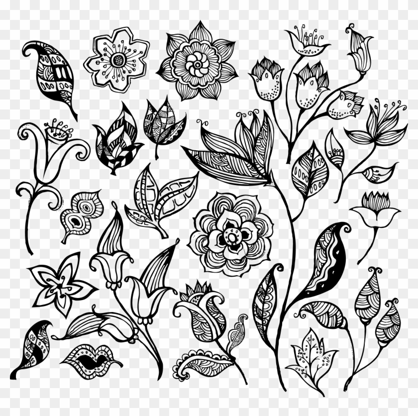 Flower Pattern Vector - Flowers Black And White Vector Clipart@pikpng.com