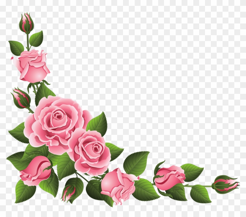Corner Decoration With Roses Png Clipart Picture - Rose Flower Border Design Transparent Png #20959