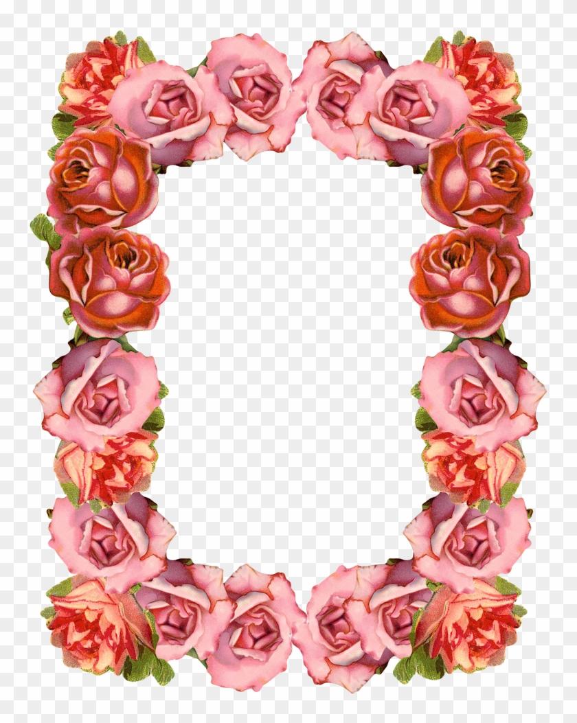 Free Digital Sugary Vintage Rose Frame And Border Png - Transparent Background Roses Frame Png Clipart #21365