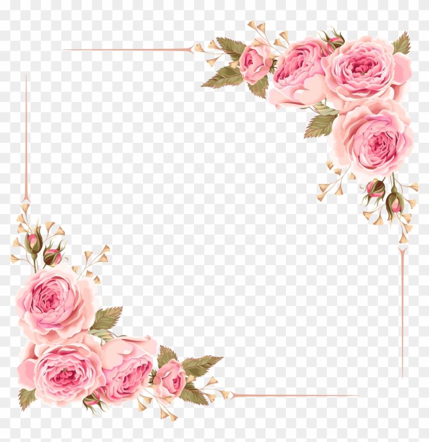 Download - Flower Border Design For Wedding Invitation Clipart #21387