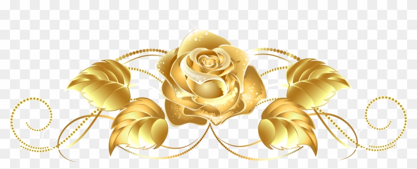 Beautiful Gold Rose Decor Png Image - Gold Rose Transparent Background Clipart #22189