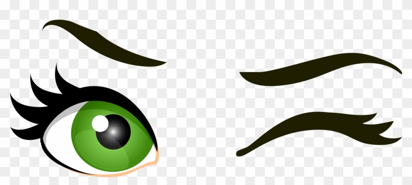 Green Winking Eyes Png Clip Art - Transparent Background Eyes Clipart Png #26394