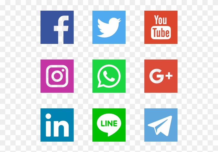 Social Networks Logos - Vector Transparent Background Social Media Icons Clipart #29819