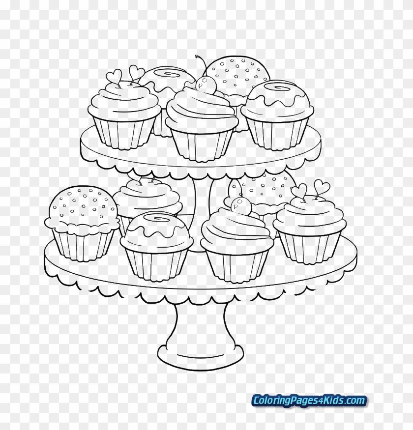 Minecraft Cake Coloring Pages Coloring Page For Adults Cupcakes Clipart 2011567 Pikpng