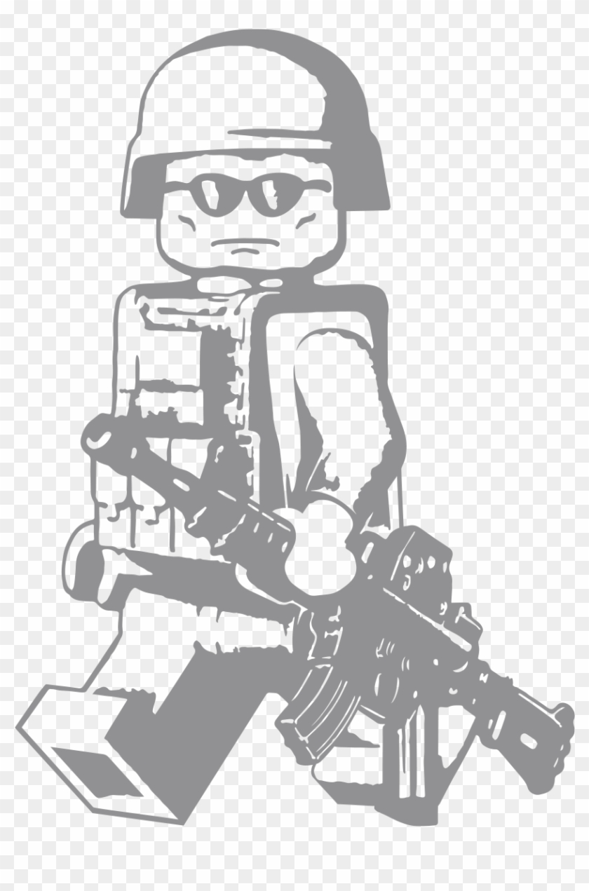 Lego Walking Modern Minifig With M4a1 Vinyl Decal - Lego Soldier Wall Decal Clipart #2014641