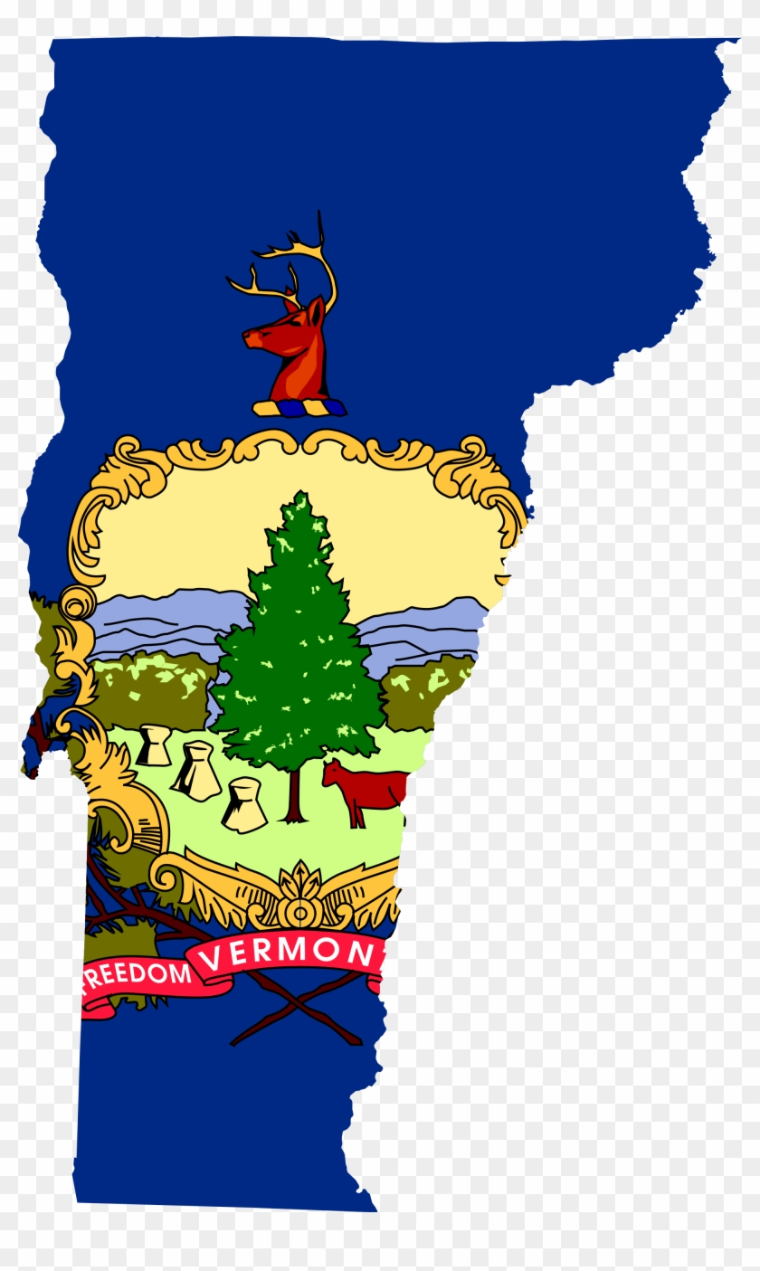 Vermont - Vermont State Flag Map Clipart #2027276