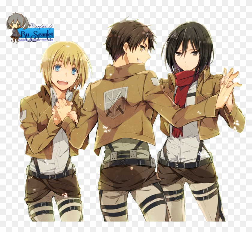 Attack On Titan Eren Mikasa Armin Clipart 2043080 Pikpng