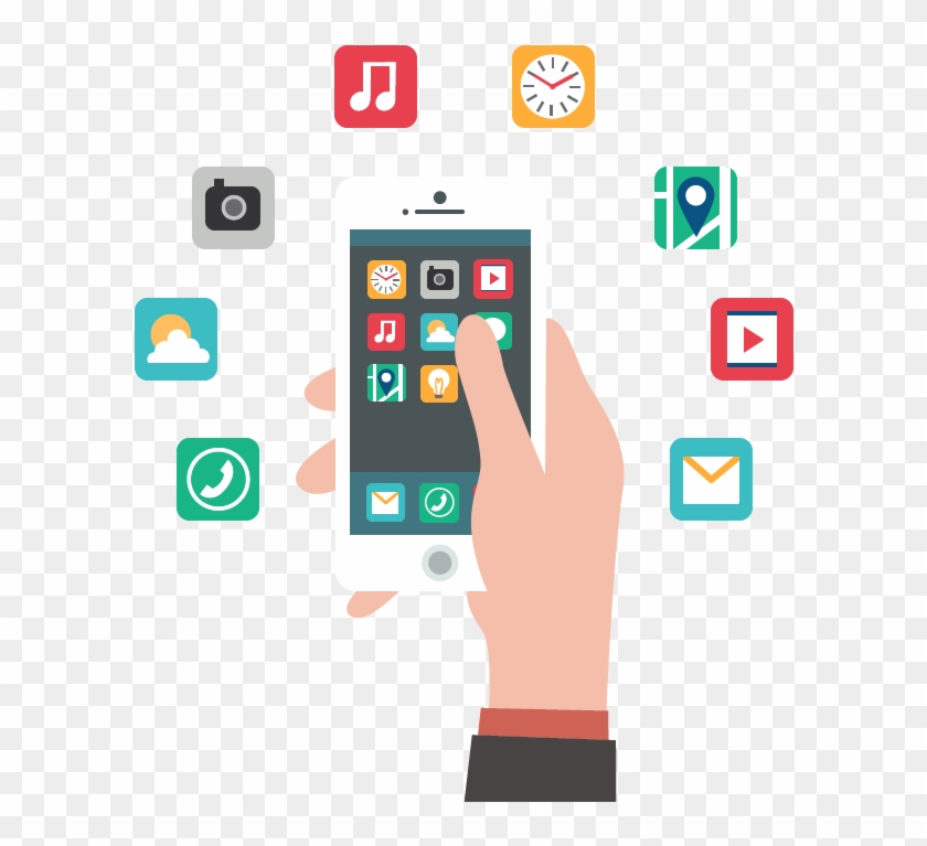 You Can Easily Find The Difference Between The Real-time - Mobile Phone Apps Vector Clipart #211273