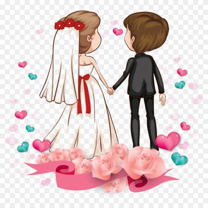 Wedding Couple Clipart Free Download - Wedding Couple Cartoon Png Transparent Png #212437