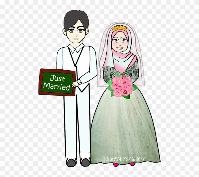 Married Couple Cartoon - Muslim Wedding Couple Cartoon Png Clipart #212747