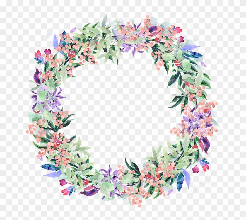 Wreath, Watercolor, Floral, Berries, Spring, Flowers - Floral Wreath Spring Watercolour Clipart #218933