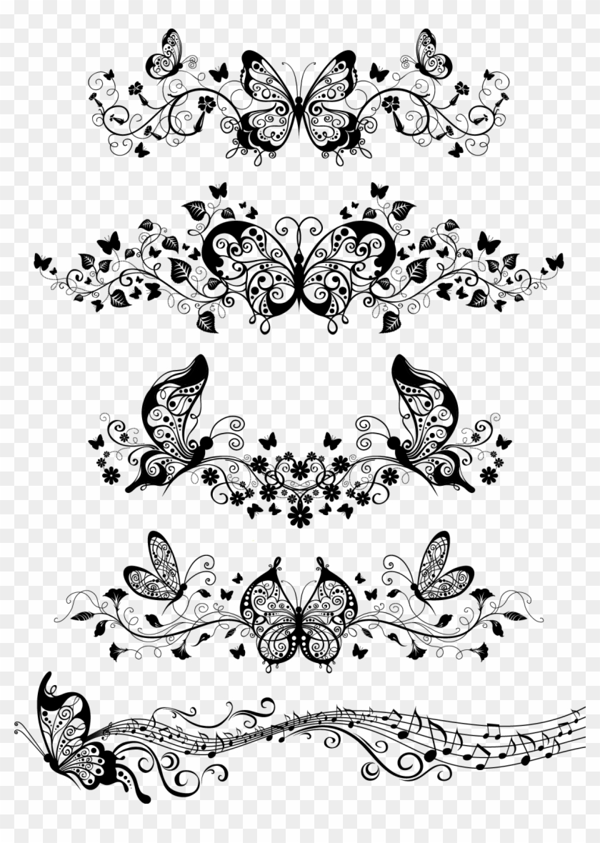 Floral With Butterflies Vector - Butterfly Ornaments Vector Clipart #2101907